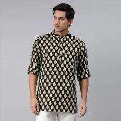 Janasya Men's Black Cotton Kurta(MEN5003)