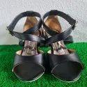 Black Bottom Heel Sandals With Straps