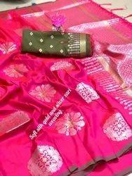 Uniquetreand Wedding Wear Litchi Silk Sarees, 6.3 m (with blouse piece)