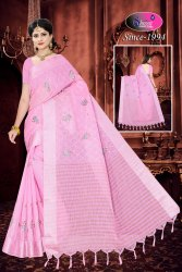 SHREEJI Casual Linen Embroidery Saree, Without blouse piece, 6.3 m (with blouse piece)
