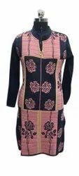 Full Sleeve Ladies Designer Party Wear Woolen Kurti, Size: Free Size, Wash Care: Machine wash