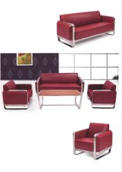Black 790 Mm Visitor Office Sofa, Seating Capacity: 2 Seater, Shape: Linear (3+1+1)