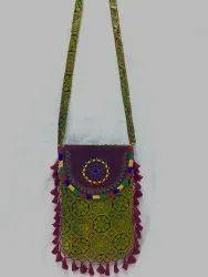Handicraft Round Leather Flap Print Bag (Big Size)