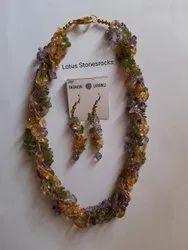 Peridot Citrine Amethyst Necklace Earrings Set