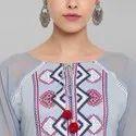 Janasya Women's Peach Poly Silk Kurta(JNE3506)