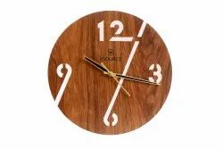XSOURCE Analog Round Brown Wooden Wall Clock, For Home, Size: 30 L X 30 H Cm