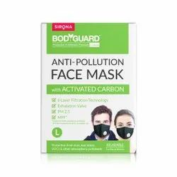 Cotton BodyGuard Reusable Anti Face Pollution Mask With Activated Carbon, Packaging Type: Box