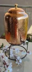 Brown Copper Hammered Design Water Pot with Brass Knob Lid - 5000ML, Capacity: 5 Litres, Size: Height: 10.5