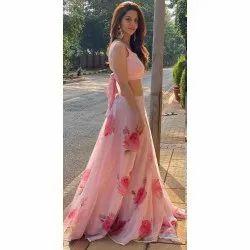 Georgette Printed ANK Enterprise Pink Party Wear Lehenga Choli