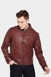 Full Sleeve Casual Jackets Handmade Men's Maroon Front Zipper Biker Jacket With Shawl Collar