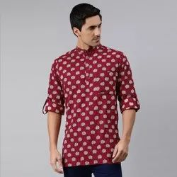 Janasya Men's Maroon Cotton Kurta(MEN5013)