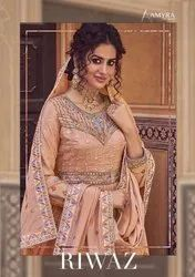 Amyra Designer Riwaz Chinon Silk With Embroidery Sharara Salwar Suit Catalog