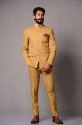 Party Plain Golden Brown Bandhgala Jodhpuri Suit, Size: Large