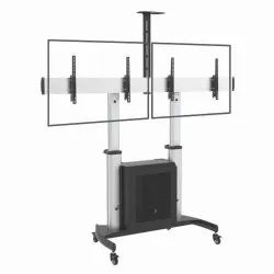 Black Aluminium LCD LED Dual Floor Stand, For Home