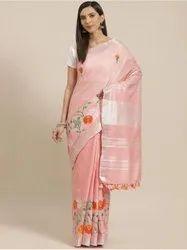 Casual Peach Cotton Slub Embroidery Designer Saree, 100-120 GSM
