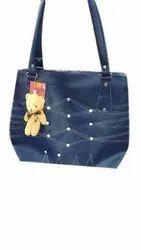 Shoulder Artificial Leather Casual Blue Ladies Hand Bag, Size: Medium