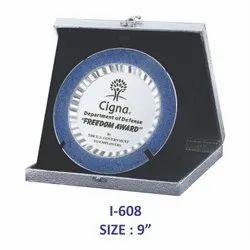 Silver/Blue Metal Plate Memento / Trophy