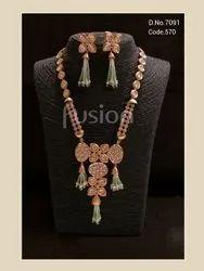 Fusion Arts American Diamond Kundan Fusion Necklace Set