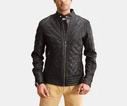Full Sleeve Casual Jackets Handmade Men's Black Front Zipper Biker Jacket With High Stand Collar
