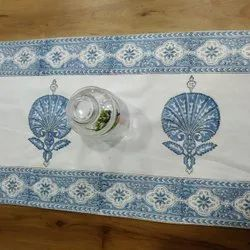 Block Printed Indian Cotton Table Runner with Floral Motifs