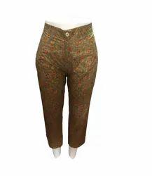 MasterJi Garments Jaipuri Golden Print Ladies Cotton Trouser, Waist Size: 30.0