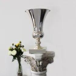 Polished Round Trumpet Silver Vase