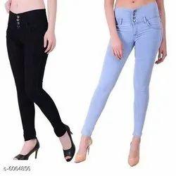 Slim Button Women Denim Jeans
