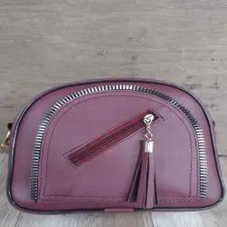 Pink Nylon Ladies Leather Hand Purse