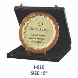 Golden Metal Plate Memento / Trophy
