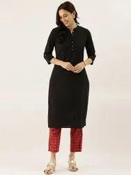 Cotton Casual Wear Divena Black Solid Straight Roll Up Kurti, Size: XS-7XL, Wash Care: Handwash
