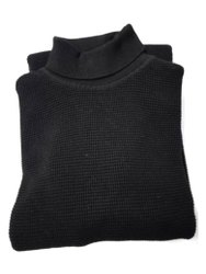 Men Black High Neck Cotton Sweater