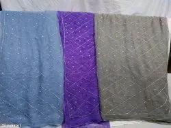 pure chiffon crystal work jaal saree