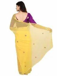 Yellow Chiffon Saree gota patti work saree