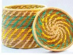 Handmade Mix Handicraft Sabai Sea Kauna Grass Storage Box, For Household, Box Capacity: 200gram