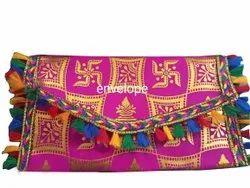 Pink Cotton Designer Handmade Shagun fabric Envelope, Rectangular, Size: 6*4