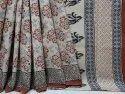 Exclusive Natural Bagru Dabu Hand Block Printed Cotton Saree