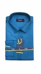 Impact Designer Cotton Mens Plain Blue Formal Shirt, Handwash, Size: 42 Inches