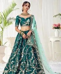 Wedding Wear Green Ladies Malbari Lehenga