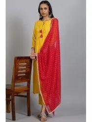 Janasya Women's Mustard Rayon Kurta With Pant And Dupatta(SET245)