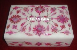 Handmade Marble With Pink Mother Of Pearl Stone Inlay Design Jewelry Box
