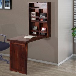Rectangular Dane Sheesham Wood Wall Mounted Study Desk With Book Rack