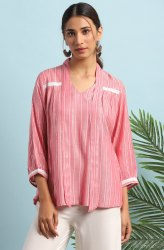 Janasya Women's Pink Rayon Top(J0114)