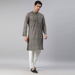 Janasya Men's Olive Cotton Kurta(MEN5030)