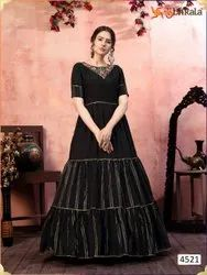 ANK Enterprise Silk & Georgette Embroidered Sequence Party Wear Gown