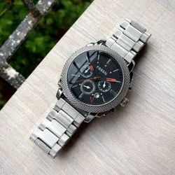 Anloge Silver Fossil Watch For Men