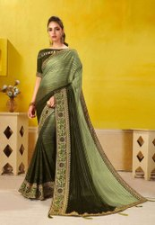 Parrot Green Fancy Border Saree