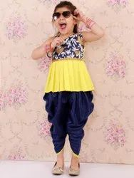 Blue Saira Peplum Embroidered Top With Dhoti, 6 Months - 12 Years