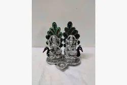 1 Traditional Ganesh Lakshmi Diya Silver Meenakari