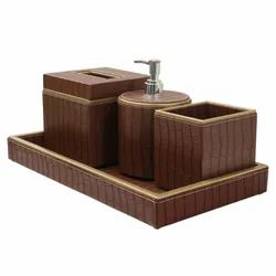 Rectangular Brown Leather Bath Set, For Residential, Size: 15X10 cm