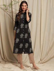 Janasya Women''s Black Cotton Kurta(JNE3626)